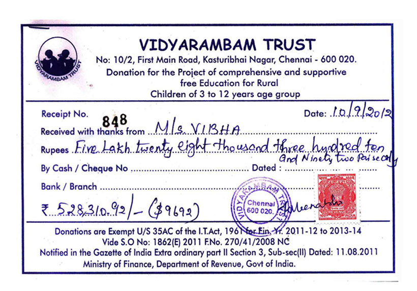 Vidyarambam Trust – Sample Donation Receipt